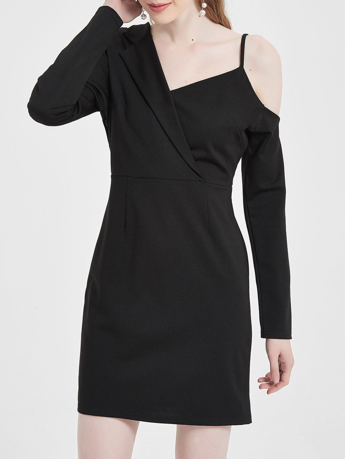 Affordable Skew Neck Mini Blazer Dress