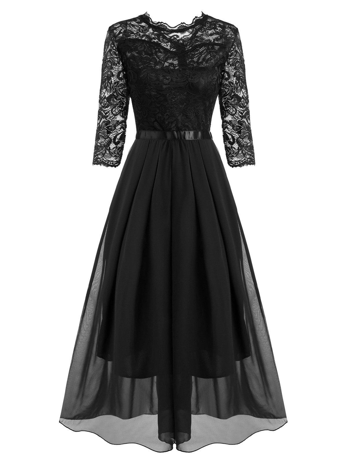 Fashion Lace and Chiffon Pleated Detail Floor Length Dress
