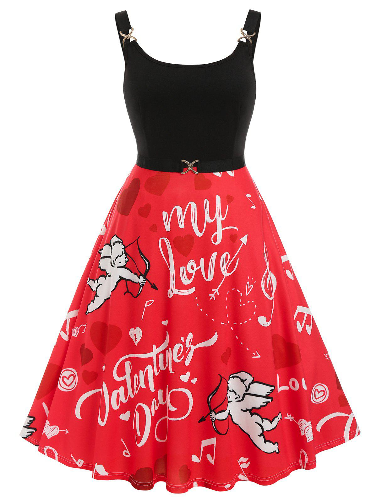 Outfit Plus Size Valentine Heart Angel Graphic Midi Backless Dress