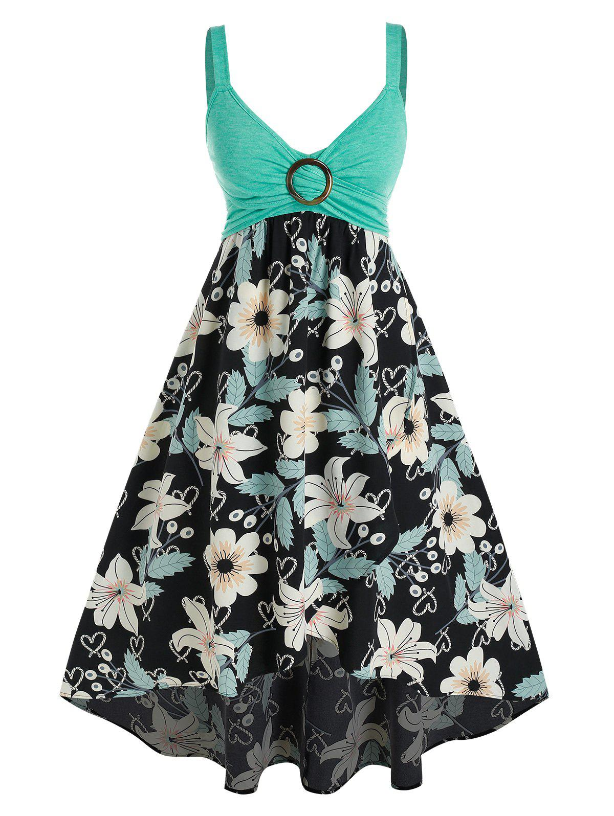 Trendy Plus Size Flower Print Ring Ruched Backless Midi Dress