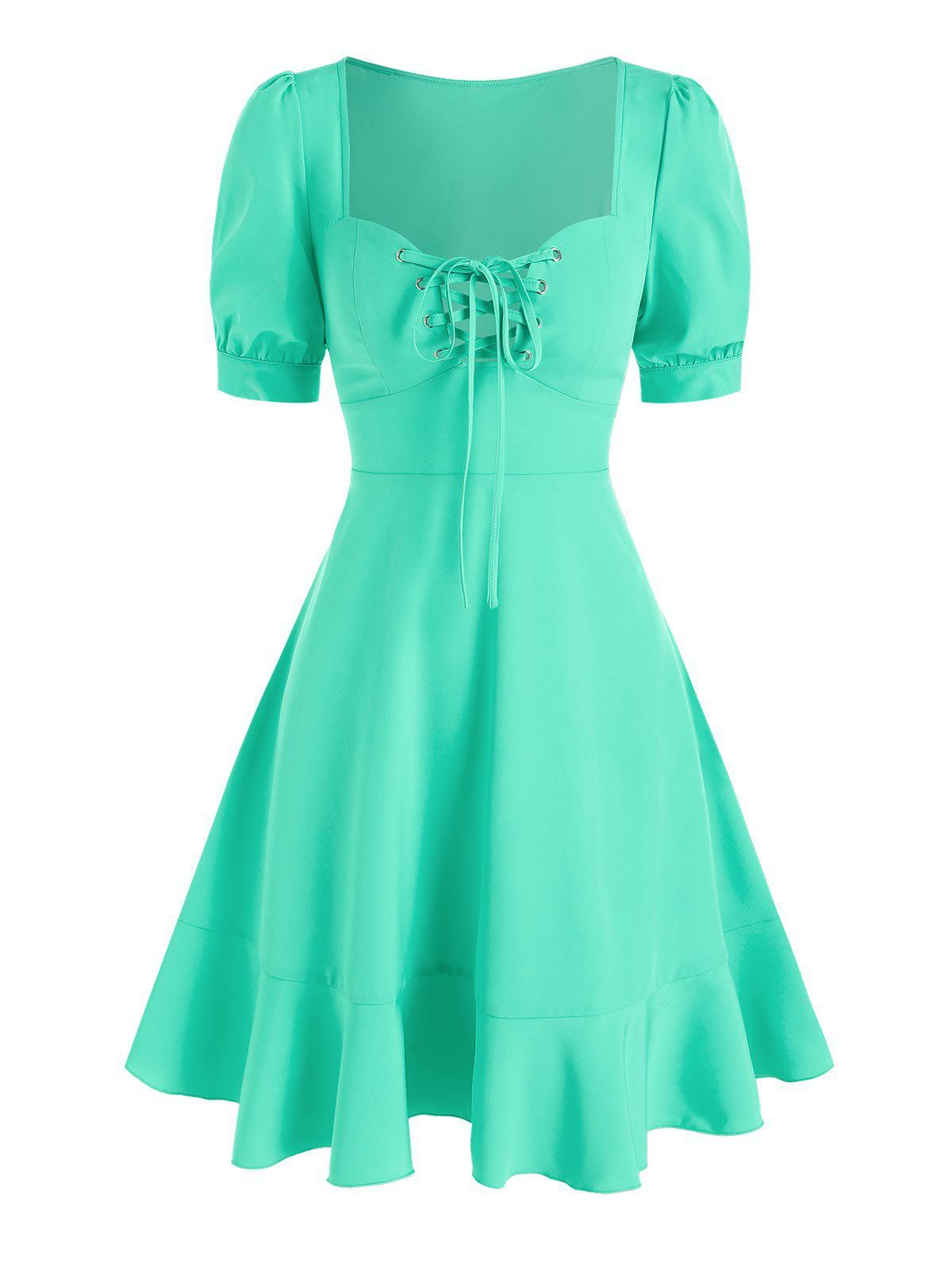 Discount Sweetheart Neck Lace Up Flounced Dress