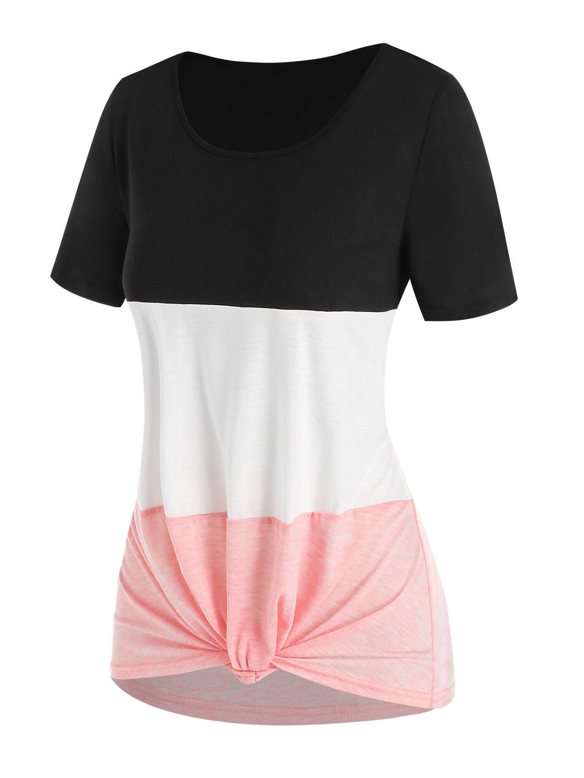 Unique Colorblock Knotted Casual T Shirt