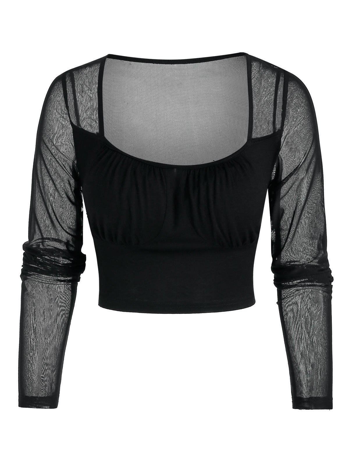 Shops See Through Cropped Mesh Insert Top