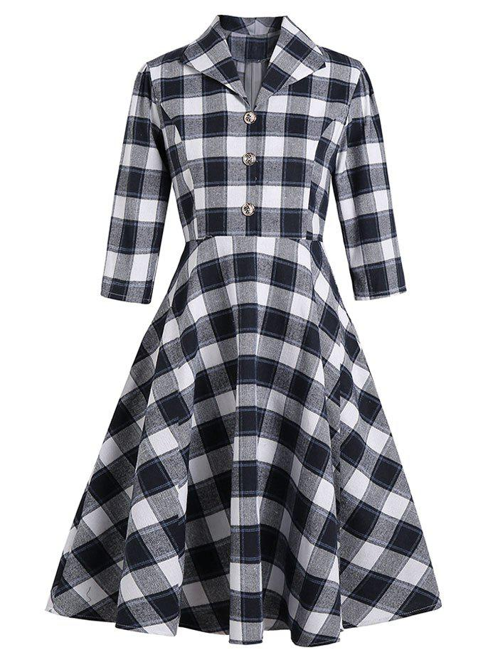 Shop Vintage Mock Button Plaid Dress
