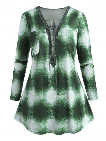 Plus Size Tie Dye Lace Up Plunging Top - GREEN - 3XL
