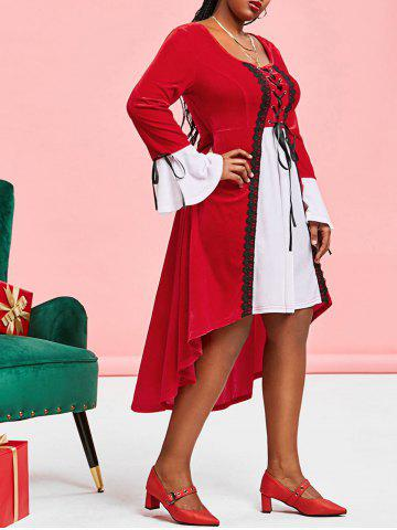 Plus Size Christmas Velvet Lace-up High Low Flare Sleeve Dress - RED - 3X