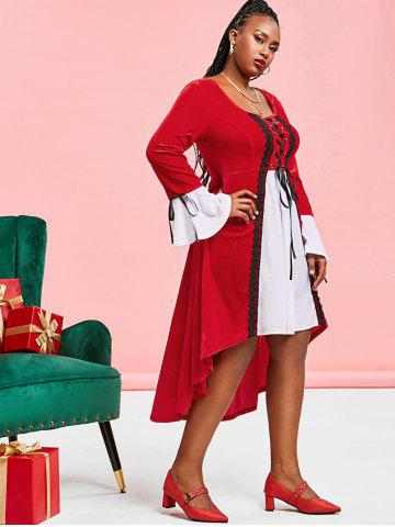 Plus Size Christmas Velvet Lace-up High Low Flare Sleeve Dress
