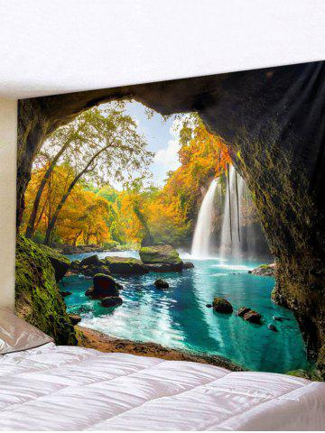 Cave Landscape Printed Waterproof Wall Tapestry - MULTI - W91 X L71 INCH