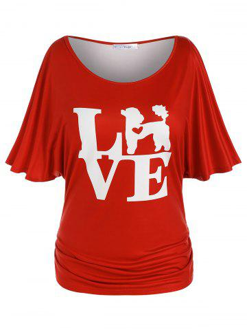 Plus Size Ruched Batwing Sleeve LOVE Graphic Tee - RED - L