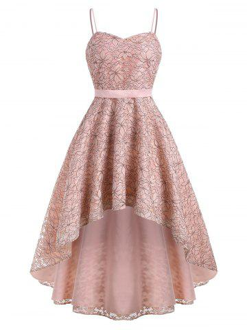 High Low Flower Lace Cami Party Dress - LIGHT PINK - L