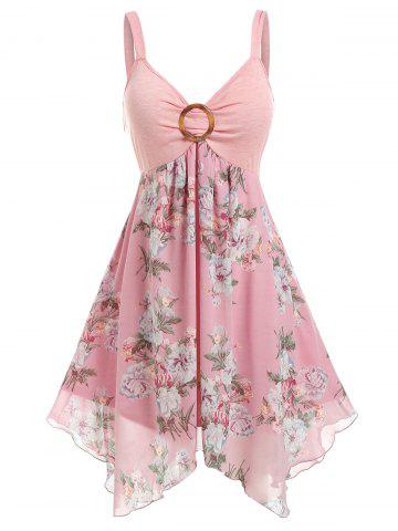 Plus Size Flower Handkerchief Ring Backless Tank Dress