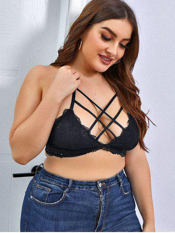 Plus Size Crisscross Front Lace Bralette - BLACK - 3XL