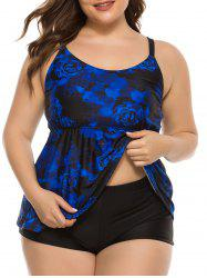 Plus Size Flower Print Open Back Skirted Tankini Swimwear -