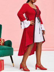 Plus Size Christmas Velvet Lace-up High Low Flare Sleeve Dress -