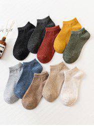 10 Pairs Solid Ribbed Ankle Socks Set -