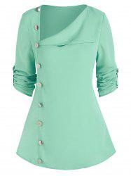 Buttons Skew Turn Down Collar TOP -