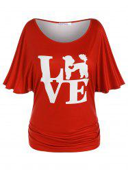 Plus Size Ruched Batwing Sleeve LOVE Graphic Tee -