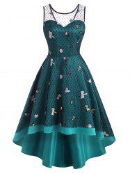 Mesh Insect Embroidered Dip Hem Party Dress -
