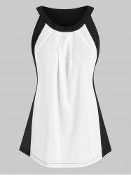 Curved Hem Two Tone Tank Top -
