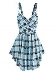 Plaid Print Crossover Flare Tank Top -
