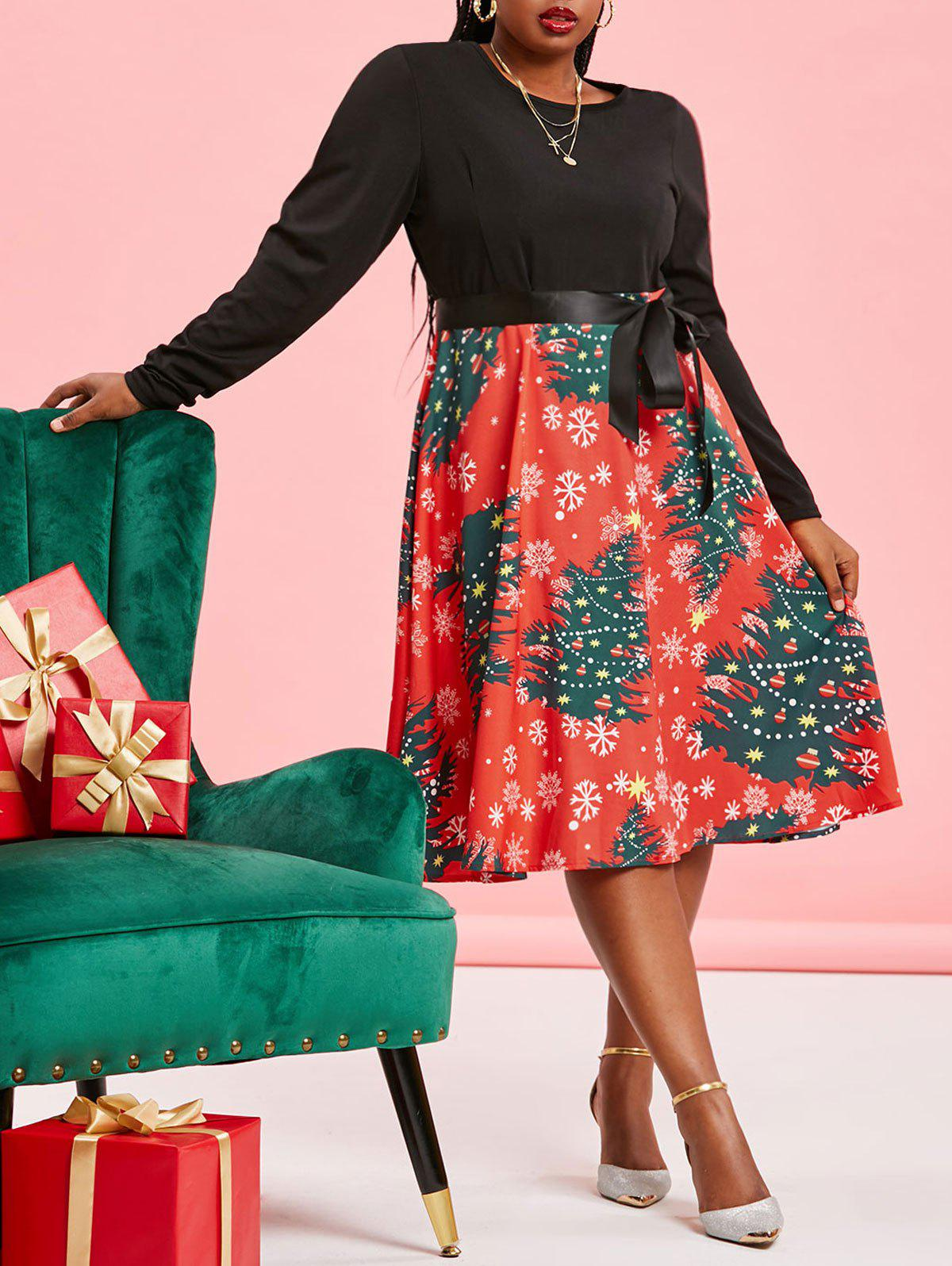 Shop Plus Size Christmas Tree Print Pin Up Dress