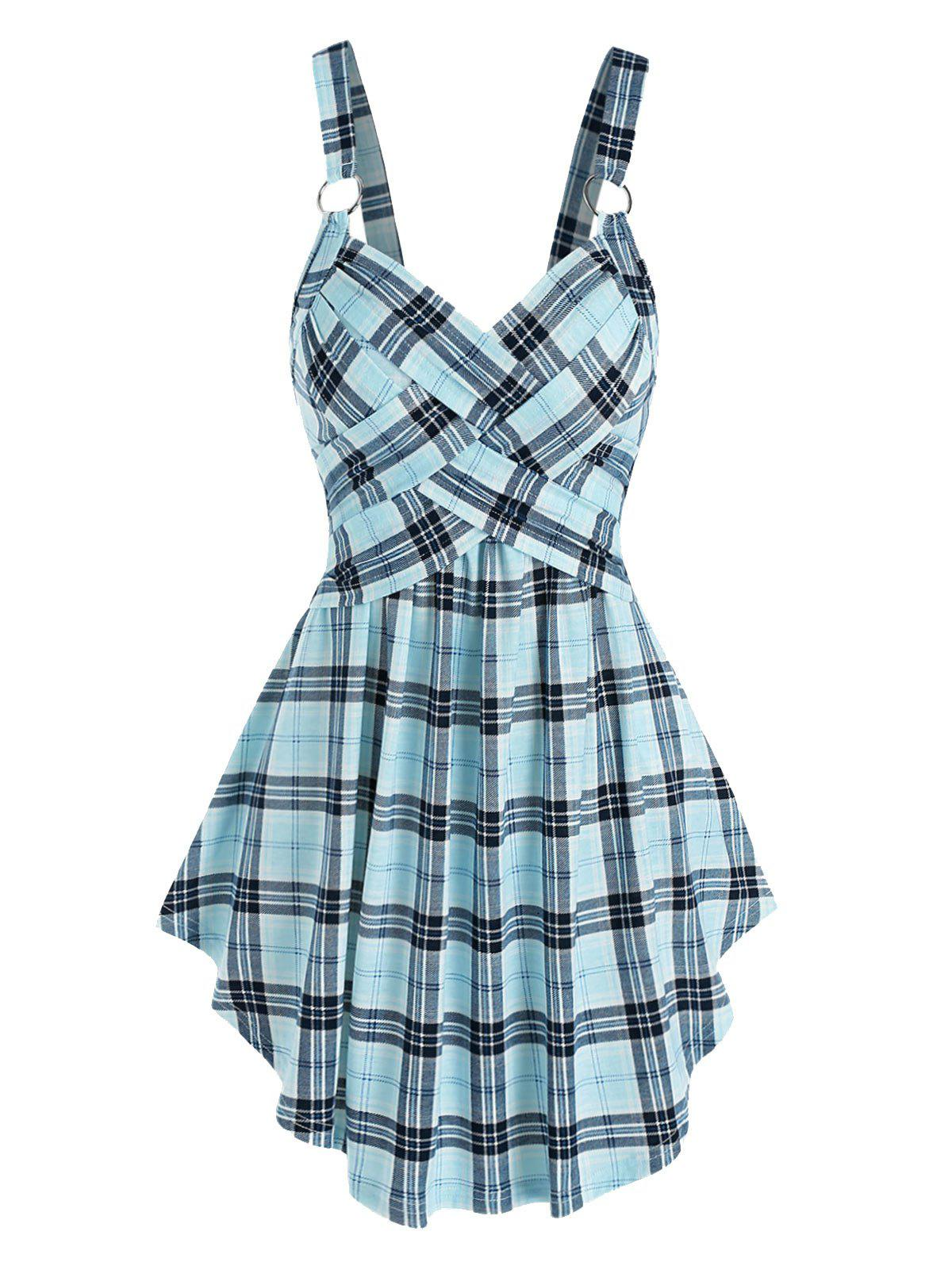 Discount Plaid Print Crossover Flare Tank Top
