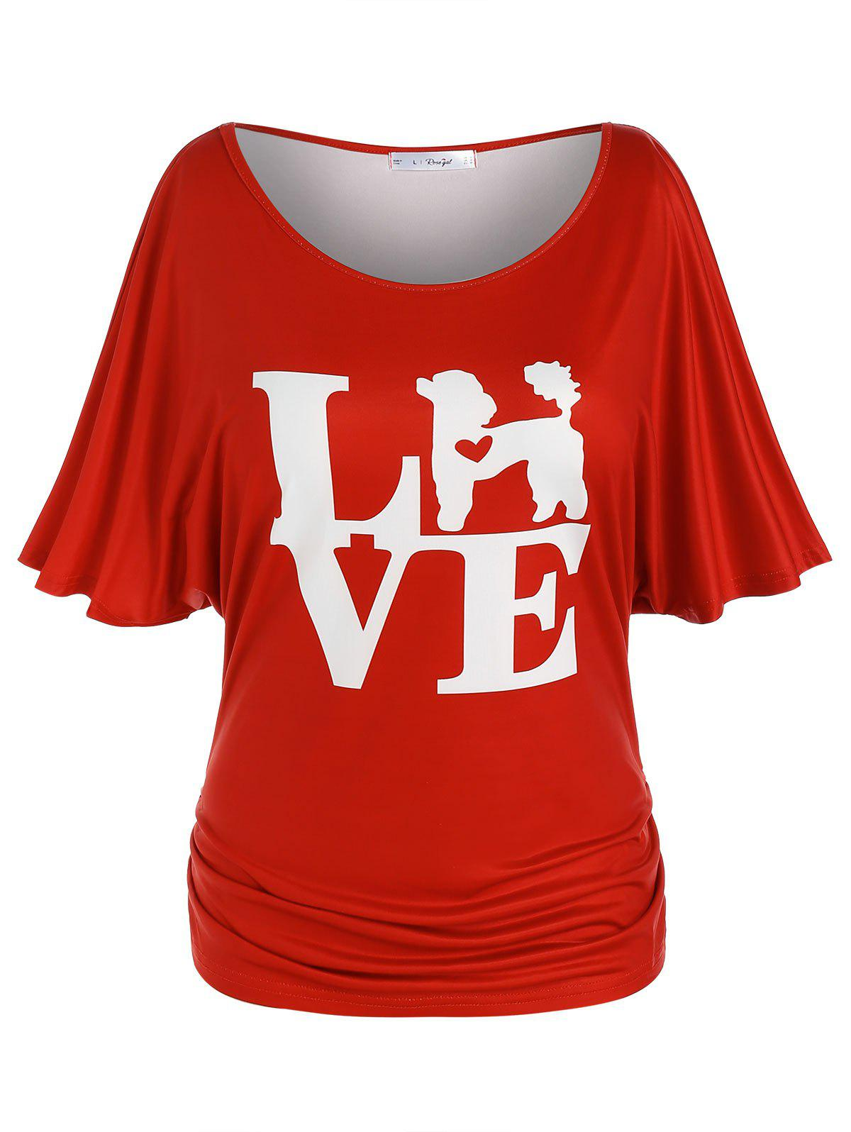 New Plus Size Ruched Batwing Sleeve LOVE Graphic Tee