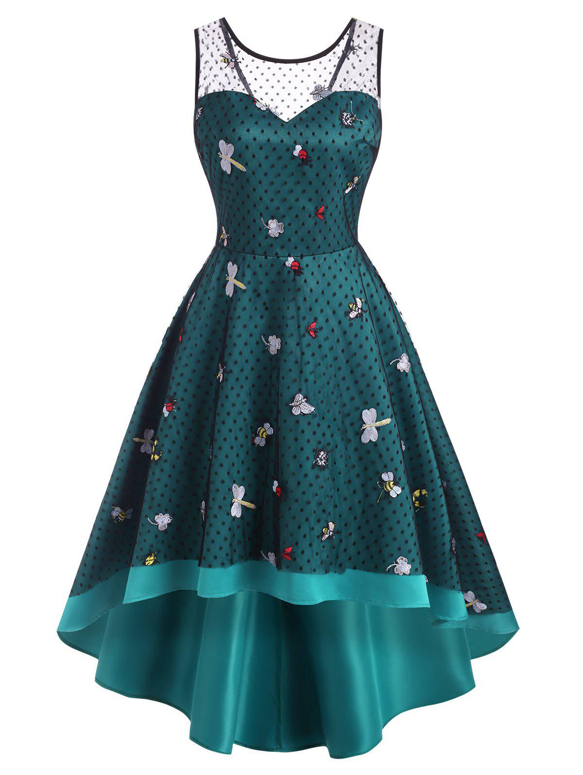 New Mesh Insect Embroidered Dip Hem Party Dress