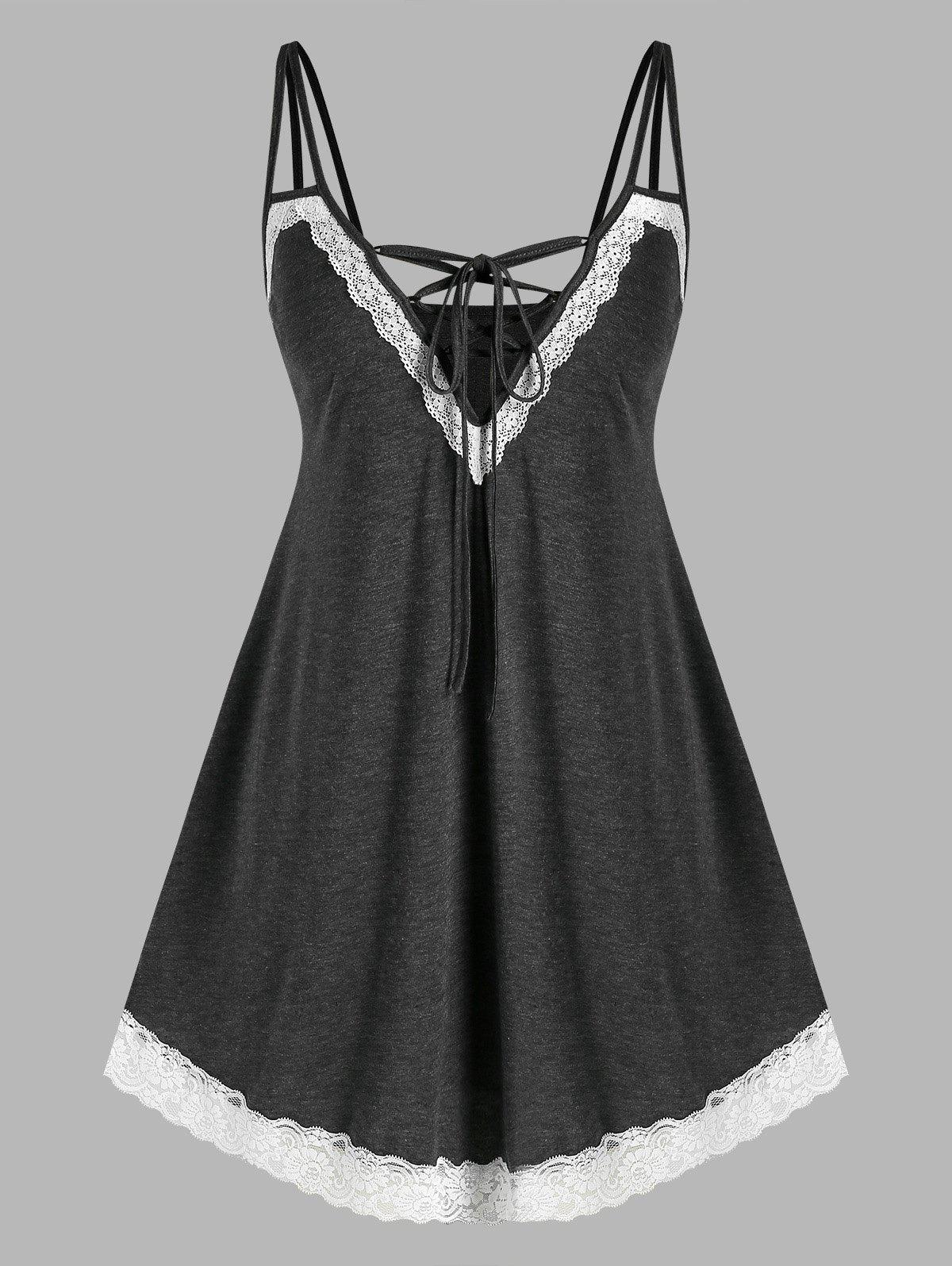 Online Plus Size Lace-up Lace Panel Cami Night Dress