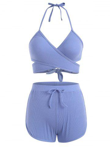 Halter Ribbed Wrap Three Piece Swimsuit - BLUE - L