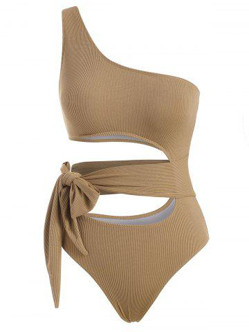 One Shoulder Ribbed Tie Cutout One-piece Swimsuit - DEEP YELLOW - XL