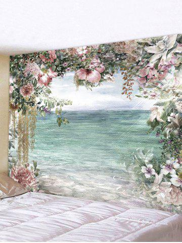 Beach Sea Flower Printed Waterproof Tapestry - MULTI-I - W118 X L79 INCH