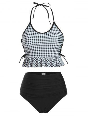 Halter Gingham Ruffle Lace-up Tankini Swimwear