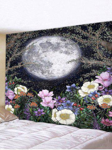 Moon and Flower Print Waterproof Wall Tapestry - MULTI-I - W91 X L71 INCH