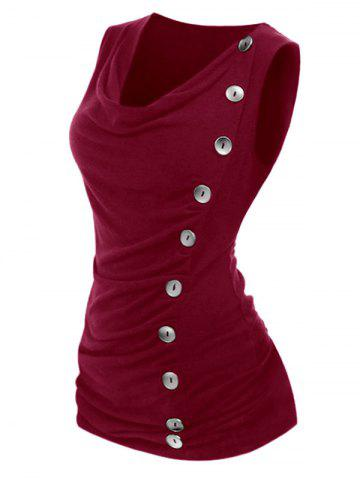 Plus Size Cowl Neck Mock Button Ruched Tank Top