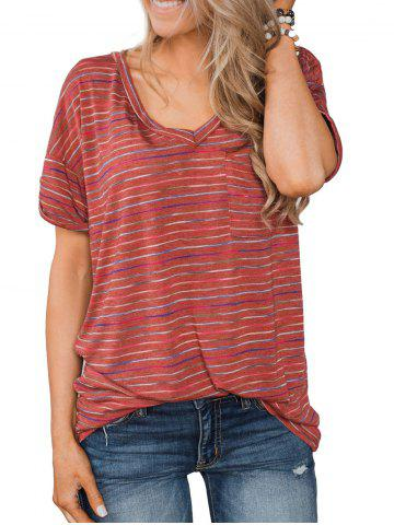 V Neck Striped Front Pocket Long Tee - RED - L