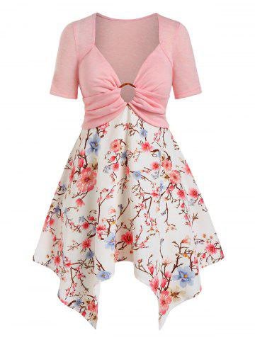Plus Size Handkerchief O Ring Floral Print Tee