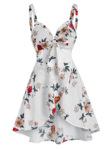Bow Detail Floral Print Overlap Tank Top