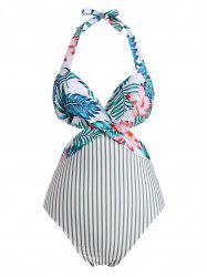 Halter Floral Leaf Striped Underwire Cutout One-piece Swimsuit -