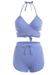 Halter Ribbed Wrap Three Piece Swimsuit -