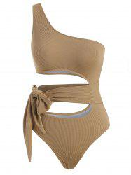 One Shoulder Ribbed Tie Cutout One-piece Swimsuit -