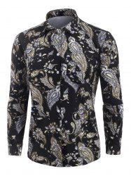 Flower Vintage Print Long Sleeve Shirt -