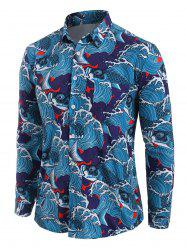 Sea Waves Fish Print Pocket Button Up Shirt -