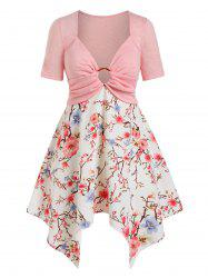 Plus Size Handkerchief O Ring Floral Print Tee -