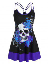 Plus Size O Ring Floral Skull Print Swing Tank Top -