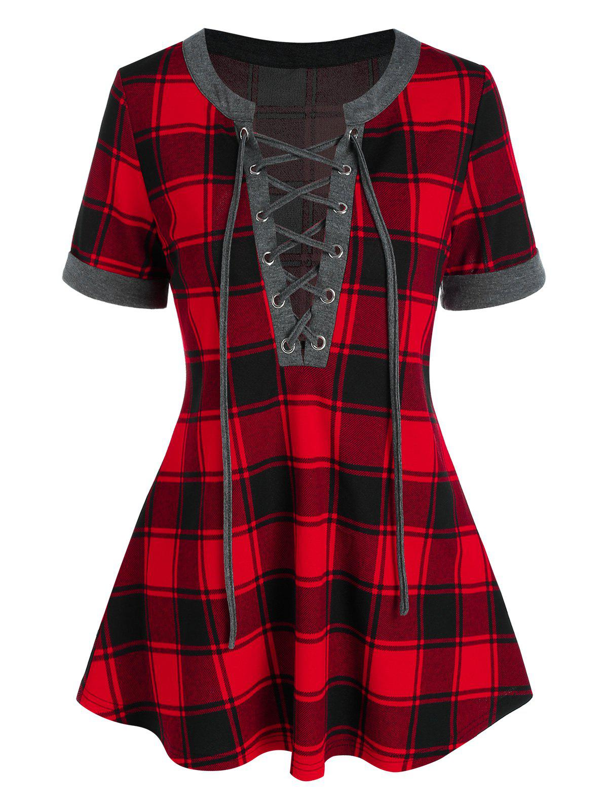 Cheap Lace Up Plaid Swing Tee