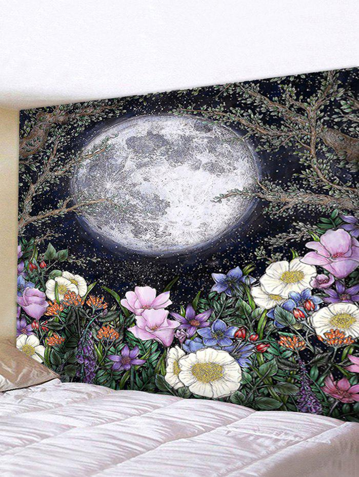 New Moon and Flower Print Waterproof Wall Tapestry