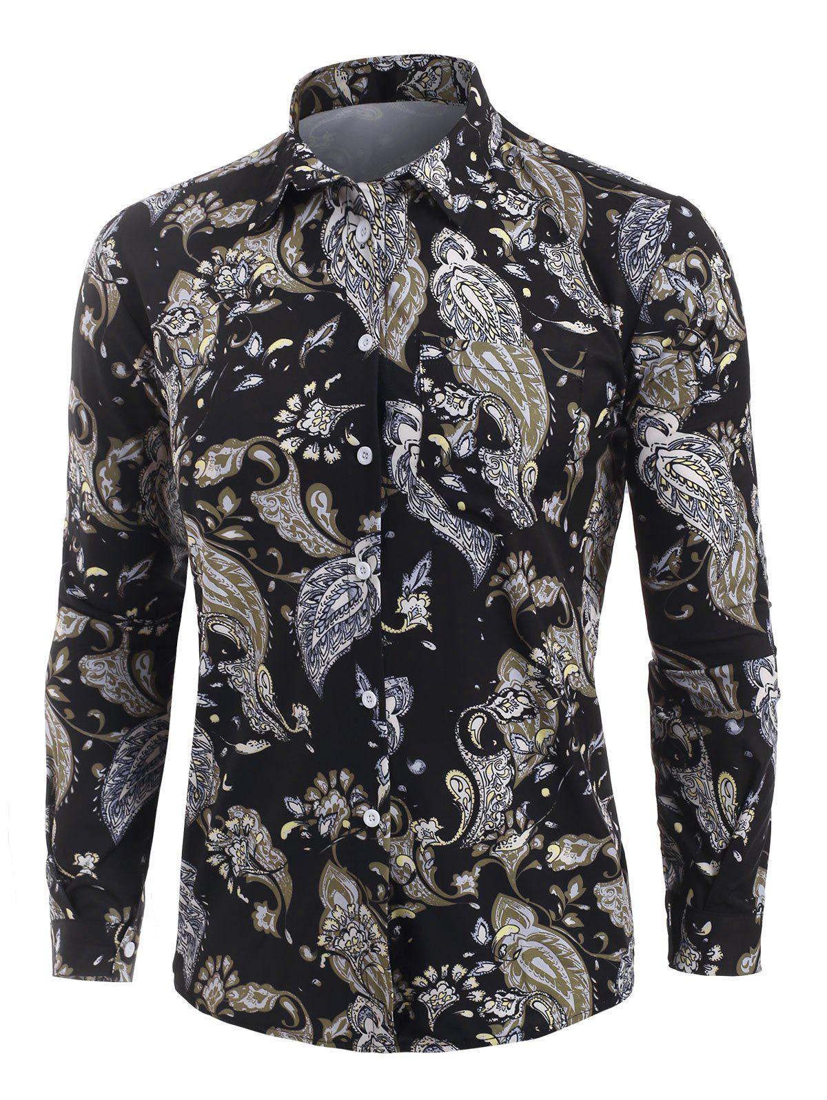 Unique Flower Vintage Print Long Sleeve Shirt