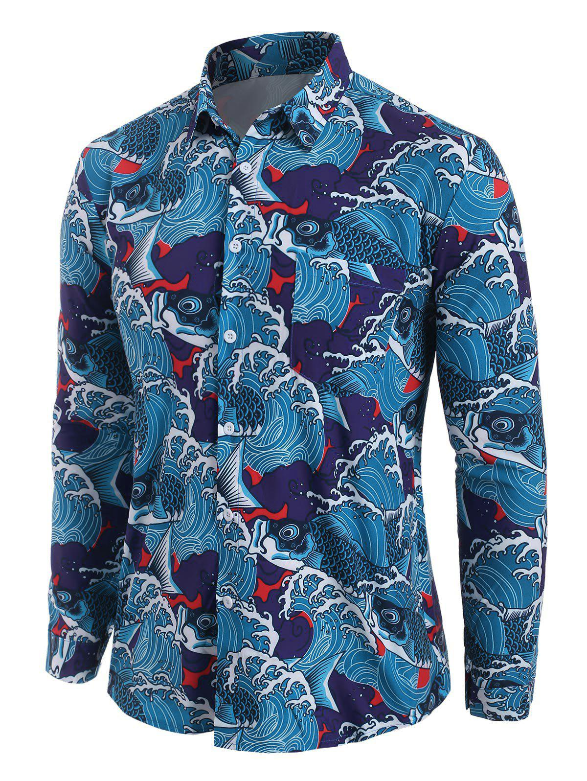 Shop Sea Waves Fish Print Pocket Button Up Shirt