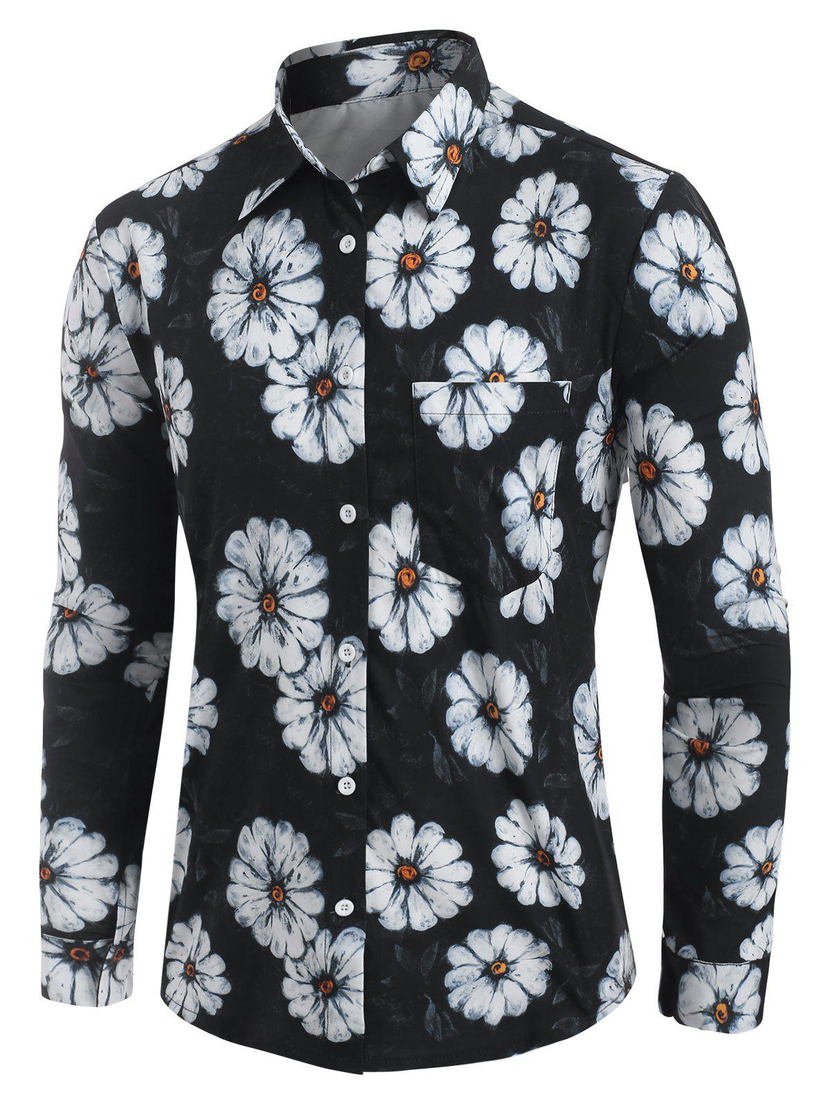 Fashion Daisy Print Long Sleeve Shirt